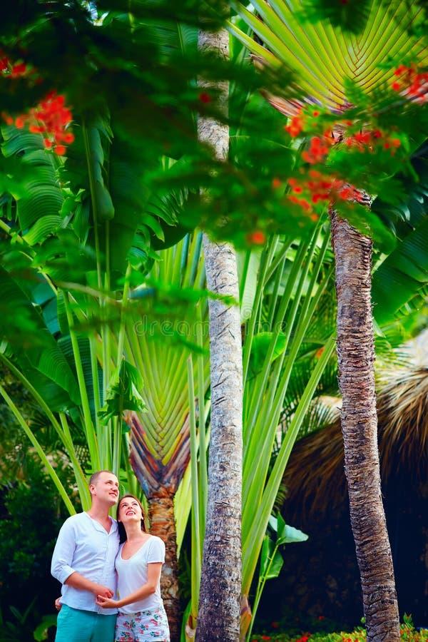 Le jeune couple apprécie la nature tropicale images libres de droits