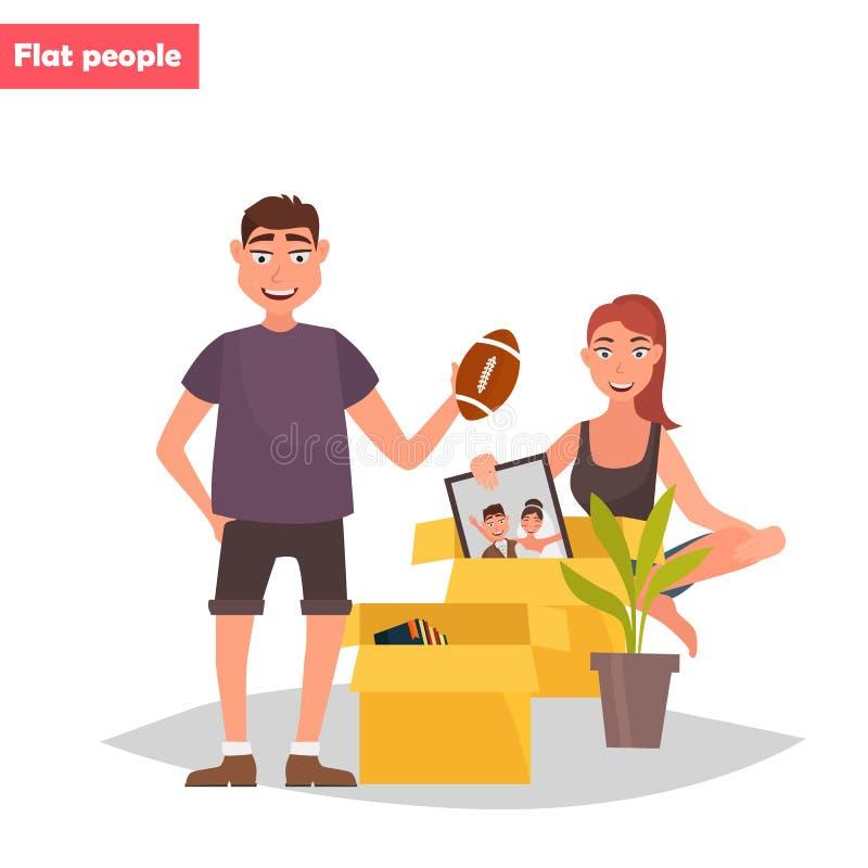 Le jeune couple déballe l'illustration plate de couleur de choses illustration stock