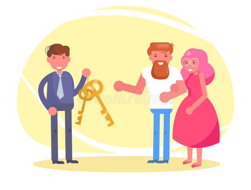 Le jeune couple de charité reçoit les clés au vecteur d'appartement ou de voiture cartoon Art d'isolement illustration stock