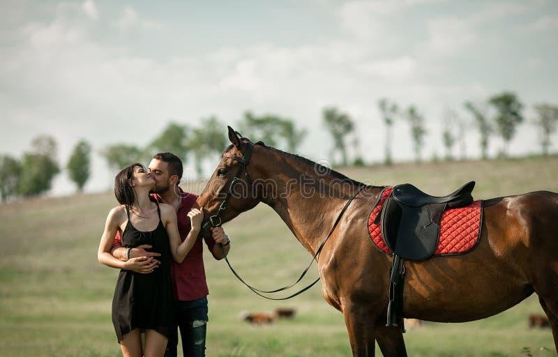 Le jeune couple est étreignant et embrassant à côté d'un cheval photos libres de droits
