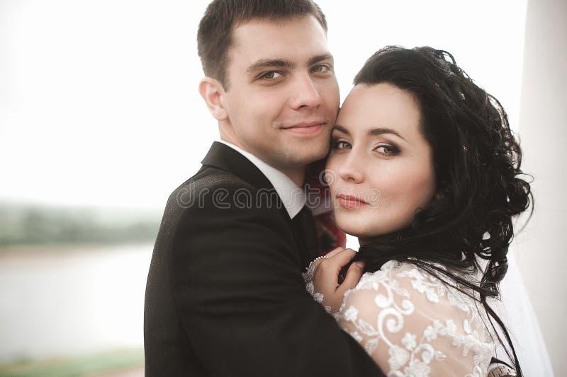 Le jeune couple heureux élégant de mariage se repose à l'herbe verte dessus photos stock