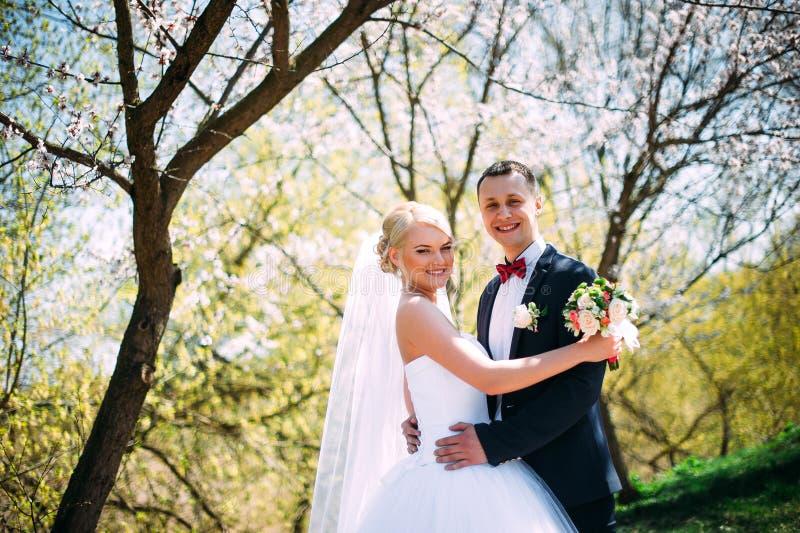 Le jeune couple heureux élégant de mariage se repose à l'herbe verte dessus image libre de droits