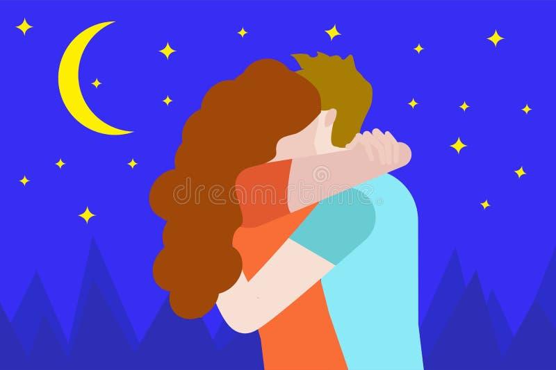 Le jeune couple heureux d'amants étreignant l'ami étreint son amie Amour de première fois d'homme et de femme et bande dessin illustration stock