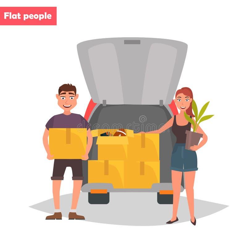 Le jeune couple met des choses dans le tronc d'une illustration plate de couleur de voiture illustration libre de droits