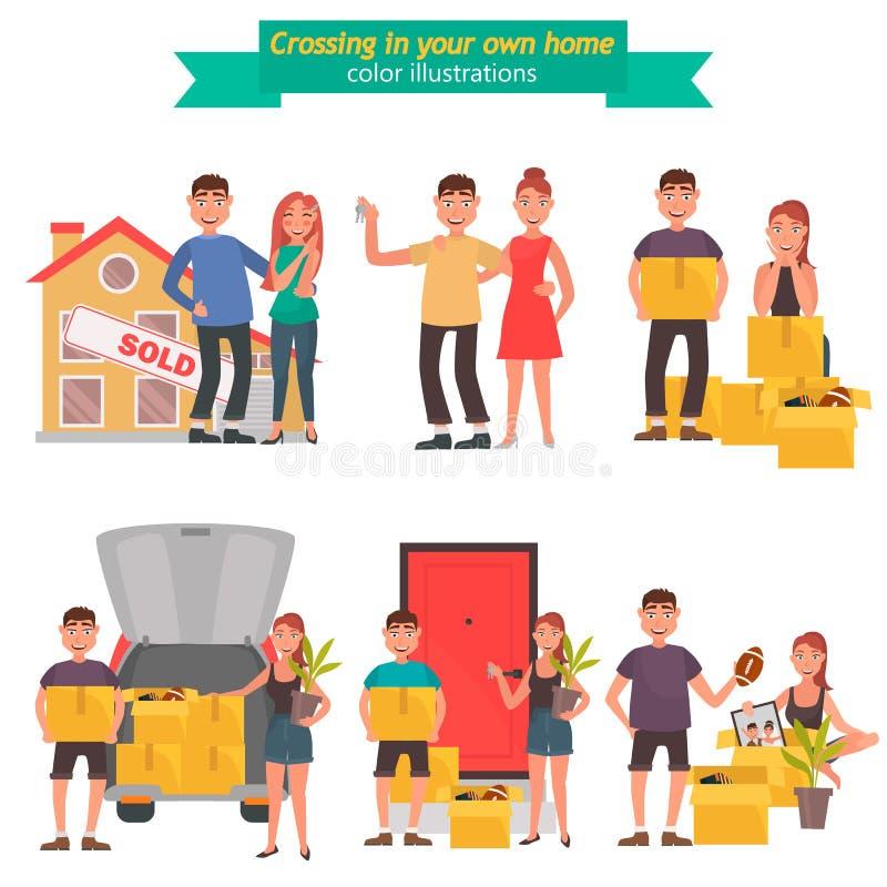 Le jeune couple se déplace à un ensemble plat d'illustration de couleur de nouvelle maison illustration de vecteur
