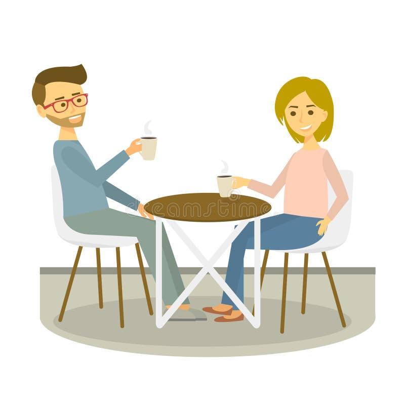 Le jeune couple se repose en café et boit du café Croissant doux et une cuvette de café à l'arrière-plan Illustration de vecteur illustration libre de droits