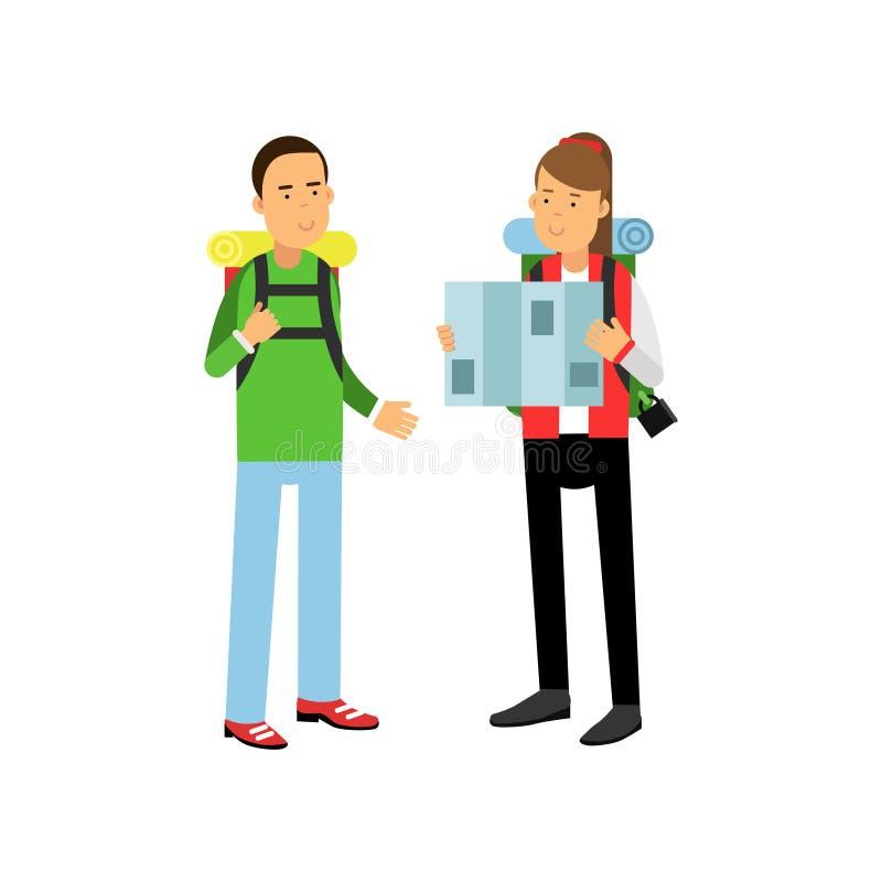 Le jeune couple voyageant avec la hausse se balade sur des épaules Fille regardant la carte Aventure et concept extérieur de récr illustration stock