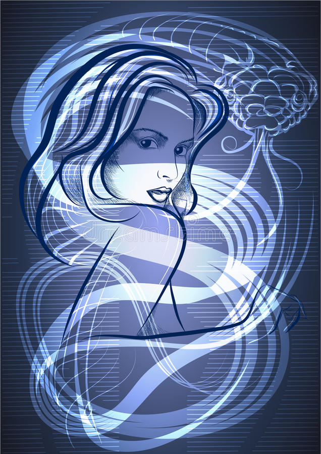 Le jeune femme avec un serpent dans le bleu illustration stock