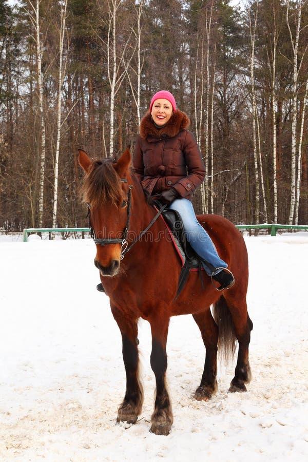 Le jeune femme s'assied sur le cheval brun image libre de droits