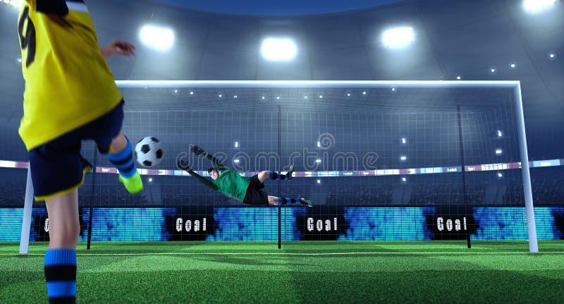 Le jeune footballeur donne un coup de pied la boule tandis que le gardien de but défend dessus images stock