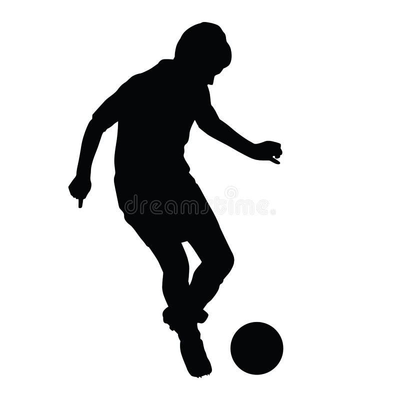 Le jeune footballeur passe la silhouette de boule illustration de vecteur