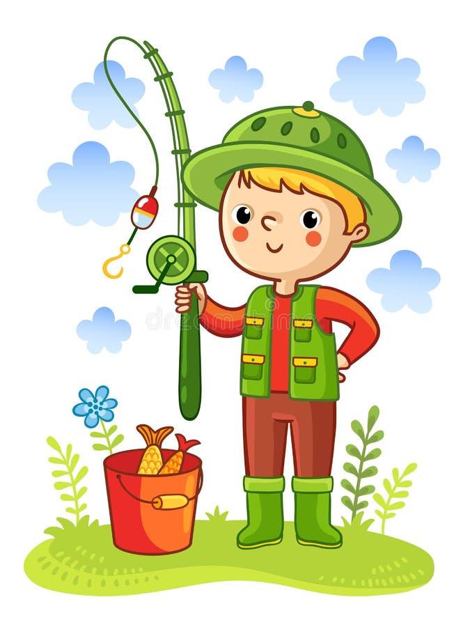 Le jeune garçon était pêche allante illustration libre de droits