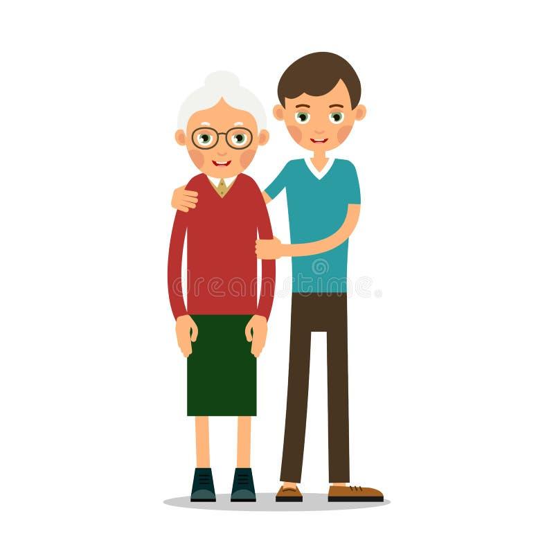Le jeune garçon aide dame âgée illustration stock