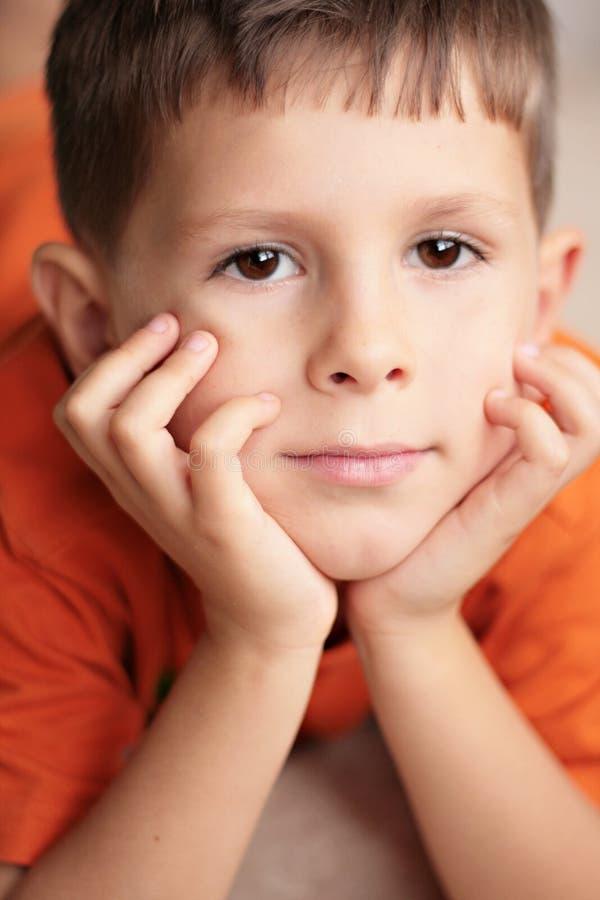 Le jeune garçon a détendu le sourire avec des mains sur le menton image libre de droits