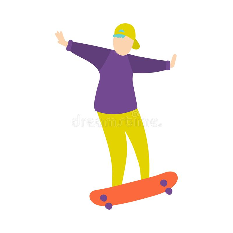 Le jeune garçon dans la casquette de baseball verte fait le tour sur la planche à roulettes illustration stock