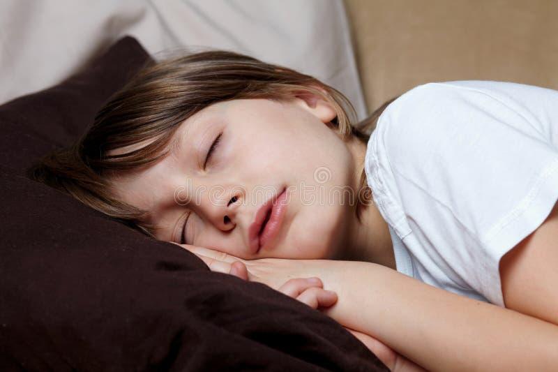 Le jeune garçon dort sur le sofa photos stock