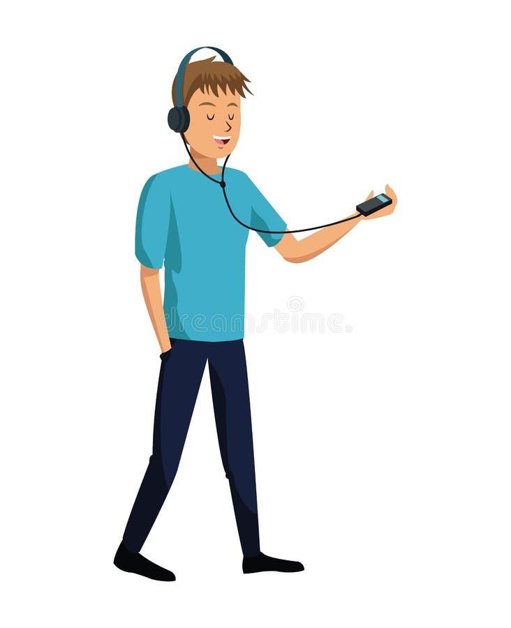 le jeune homme écoutent la musique mp3 illustration de vecteur