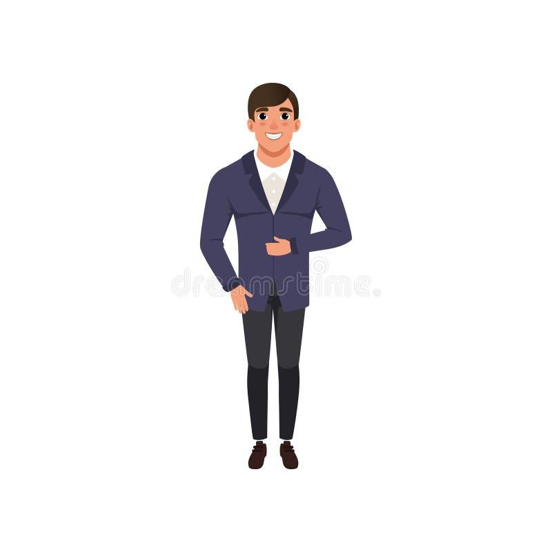 Le jeune homme beau de mode vêtx l'illustration de vecteur sur un fond blanc illustration libre de droits