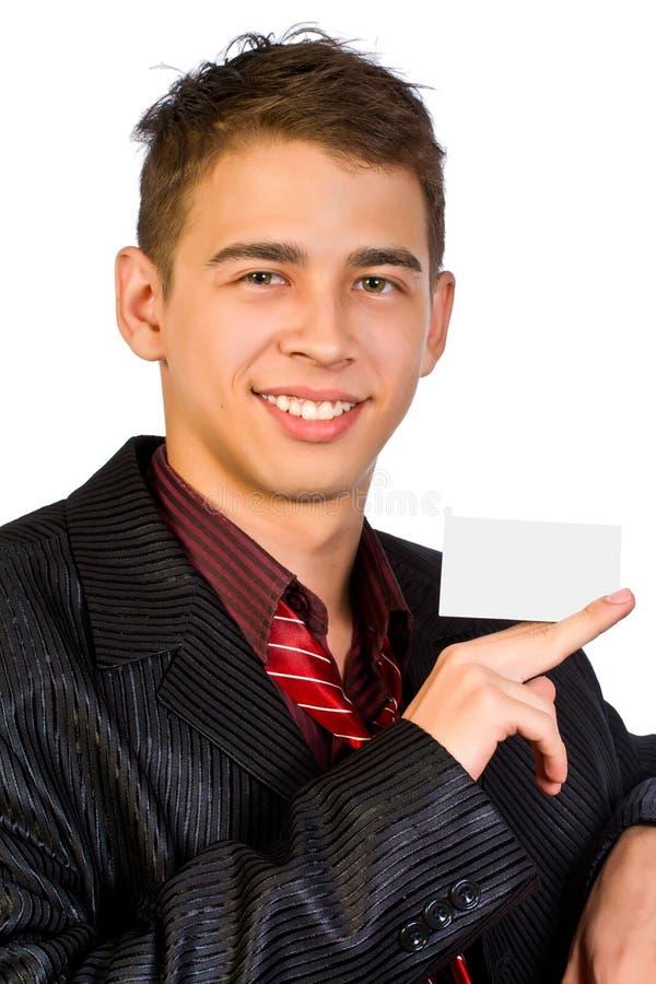 Le jeune homme d'affaires affiche la publicité. photographie stock libre de droits