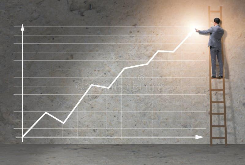 Le jeune homme d'affaires facilitant le concept de croissance économique photos stock