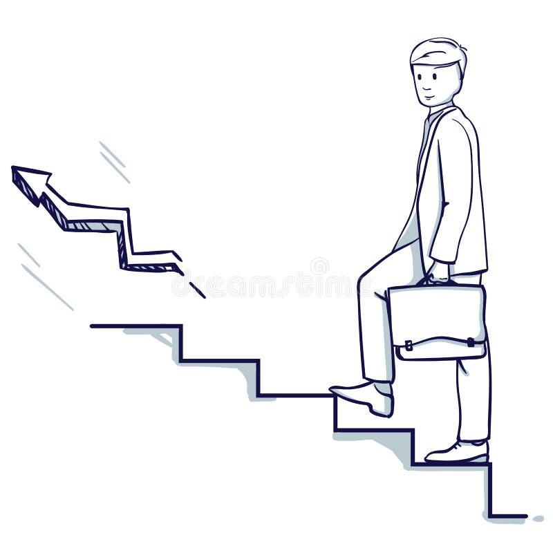 Le jeune homme d'affaires montent les escaliers Dans sa main est une valise illustration de vecteur