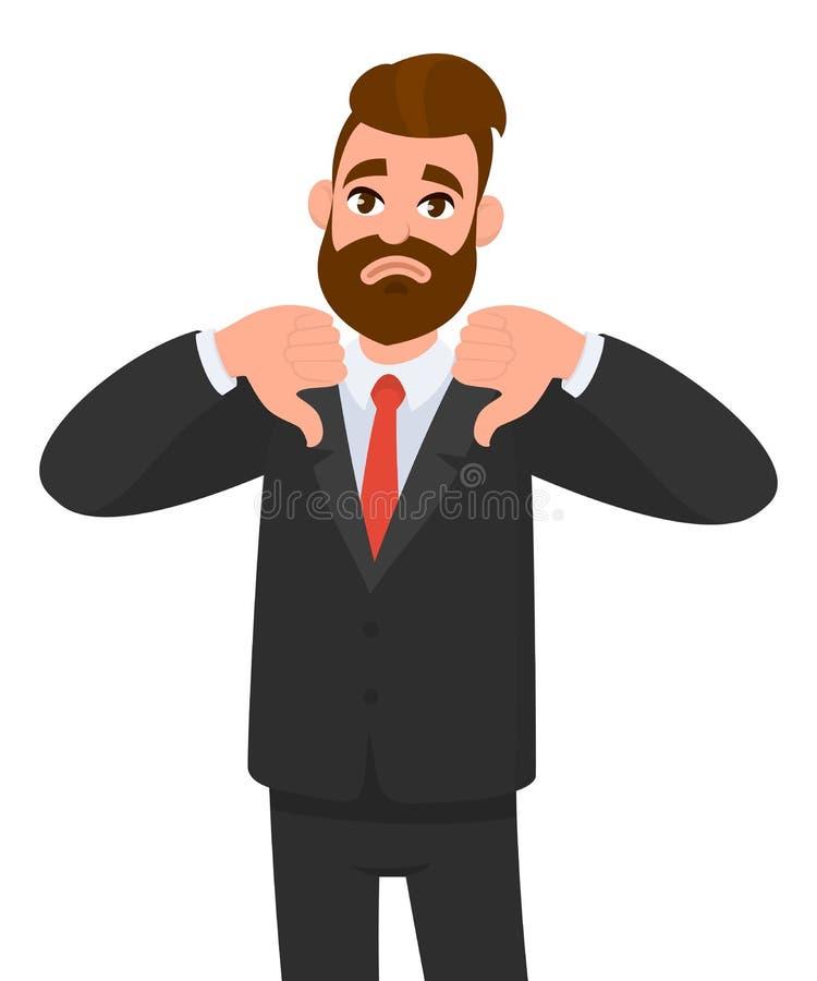 Le jeune homme d'affaires montrant des pouces vers le bas signent, détestent, homme d'affaires de withYoung de regards montrant q illustration stock