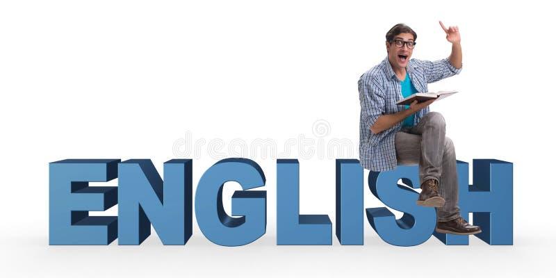 Le jeune homme dans le concept de langue étrangère - l'anglais photo libre de droits