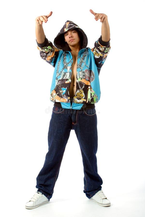 Le jeune homme dans des vêtements de frappeur photo libre de droits
