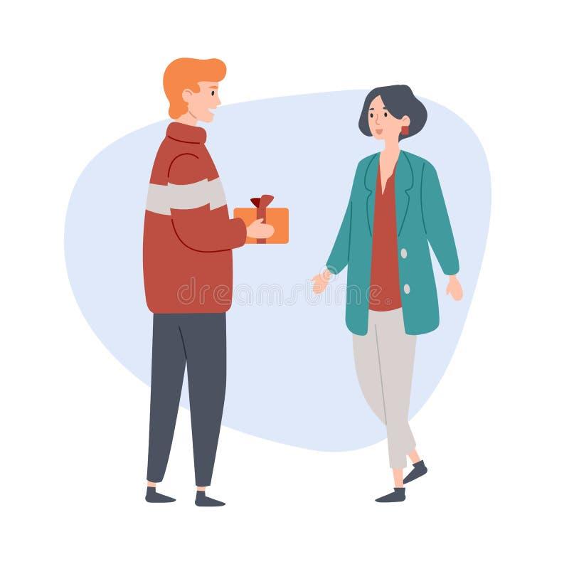 Le jeune homme donne un cadeau à son amie Félicitation, célébration, amour, relations illustration stock