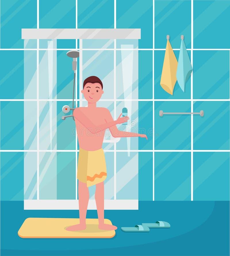 Le jeune homme drôle mignon est sorti de la douche Homme de Hapy prenant la douche pendant le matin Type se tenant dans la salle  illustration de vecteur