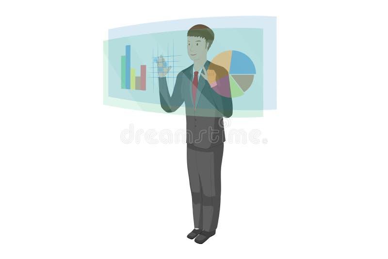 Le jeune homme emploie une technologie d'hologramme et l'écran tactile a des données de diagramme de graphique photos libres de droits