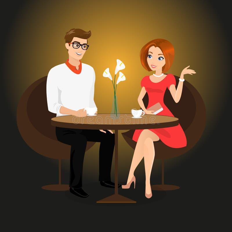 Le jeune homme et la femme ont une date dans le restaurant illustration stock