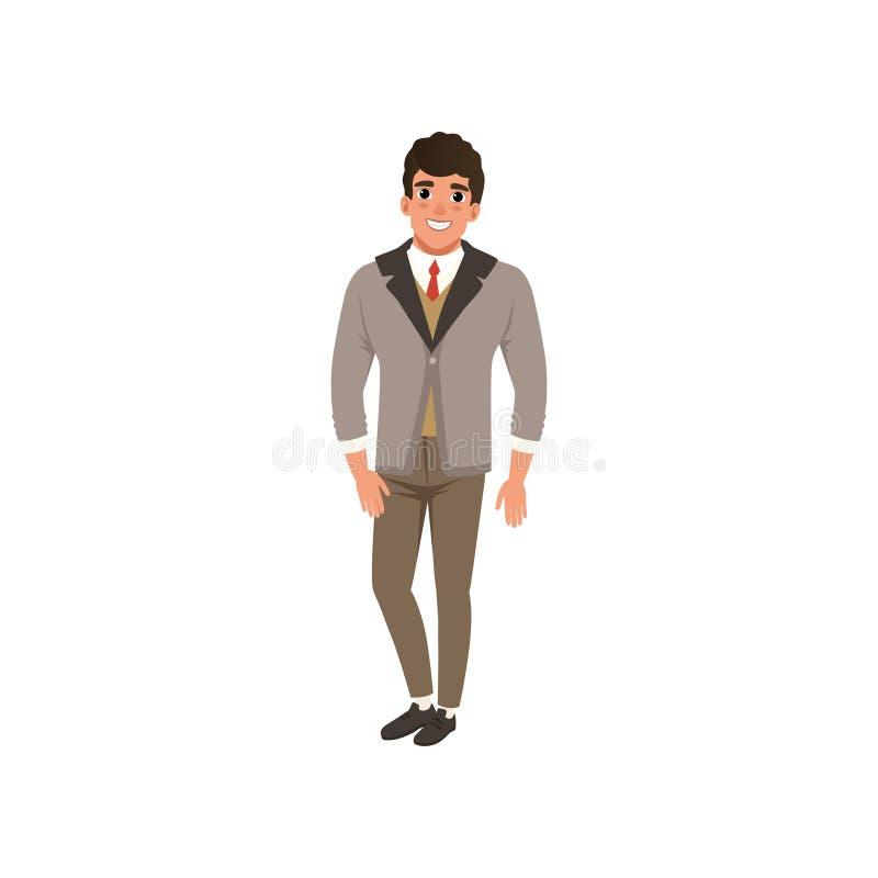 Le jeune homme gai de mode vêtx l'illustration de vecteur sur un fond blanc illustration de vecteur
