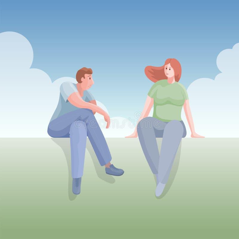 Le jeune homme parle à une jeune femme illustration stock