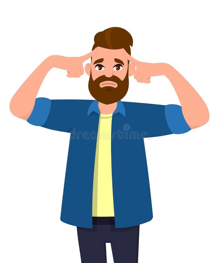 Le jeune homme touchant sa tête avec des doigts dans les deux regards de mains a fatigué avec un mal de tête illustration stock