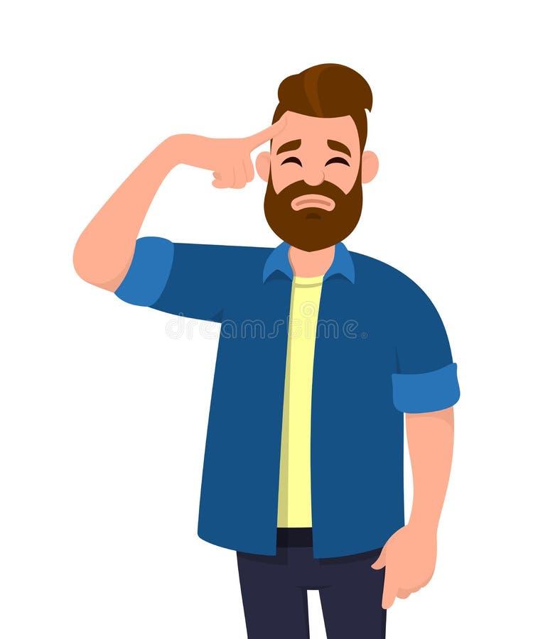 Le jeune homme touchant sa tête avec des doigts dans les deux regards de mains a fatigué avec un mal de tête illustration de vecteur