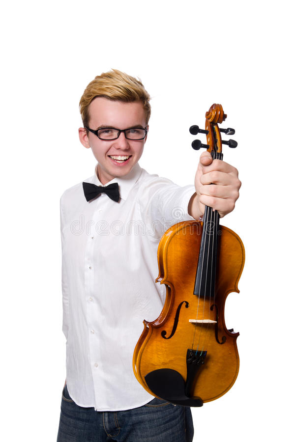 Le jeune joueur drôle de violon sur le blanc photo libre de droits