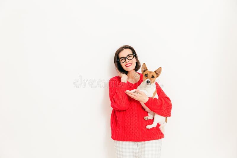 Le jeune modèle femelle caucasien avec l'heureuse expression, porte le spectac photo stock