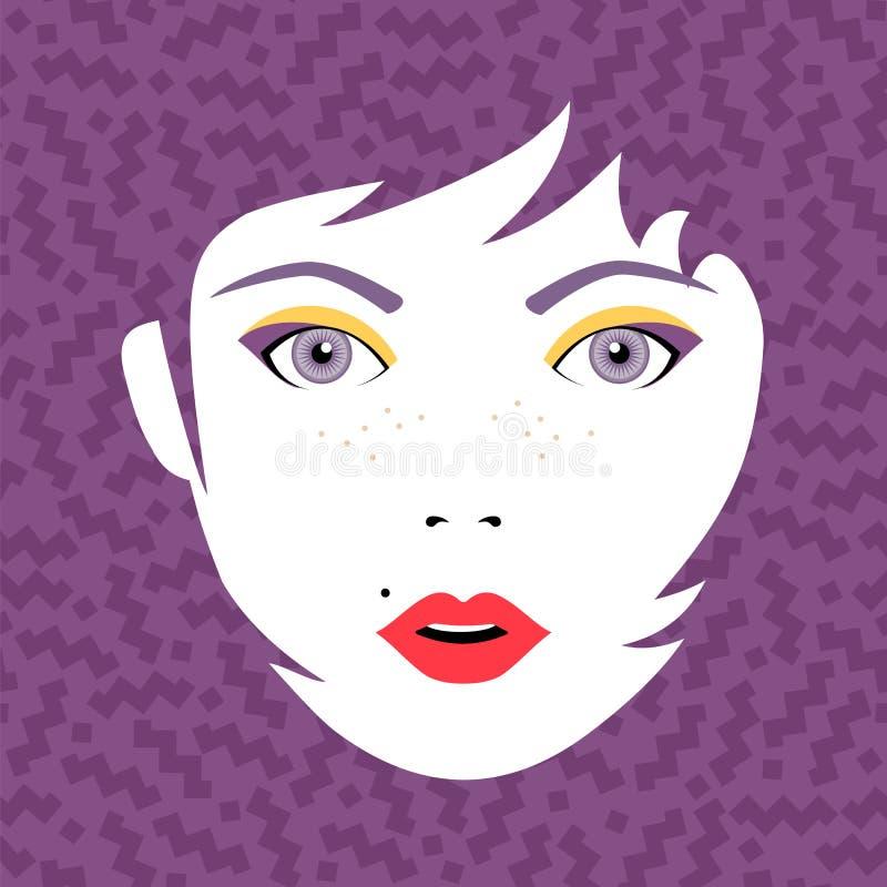 Le jeune portrait de visage de femme de mode avec composent illustration libre de droits
