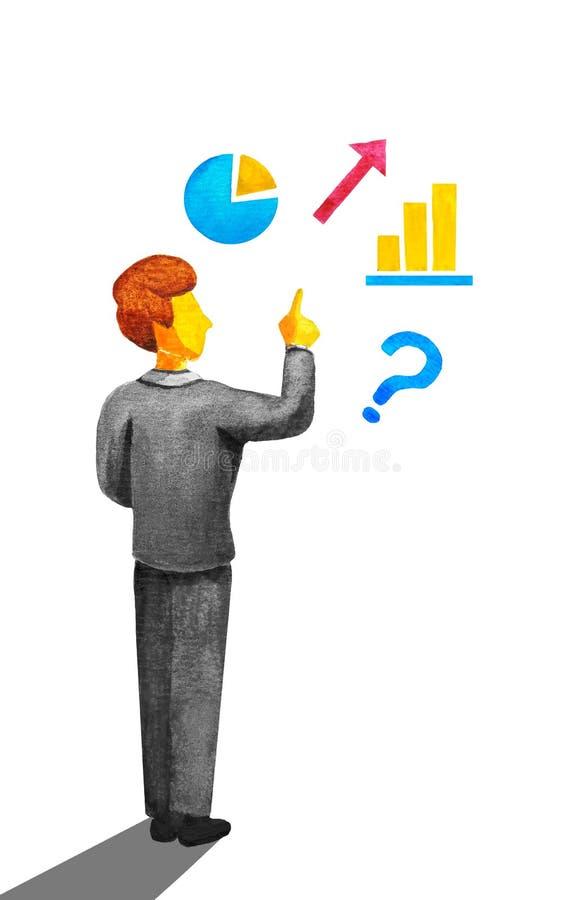 Le jeune professeur d'homme d'affaires d'employé de bureau dans un costume gris explorant et montre des gestes avec son doigt jus illustration stock