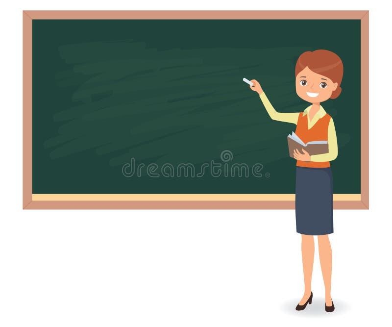 Le jeune professeur féminin écrit la craie sur un tableau noir d'école illustration libre de droits