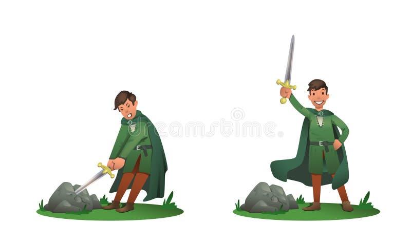 Le jeune Roi Arthur retirant Excalibur de la pierre et le tenant au-dessus de la tête Ensemble de deux postures, bande dessinée illustration stock
