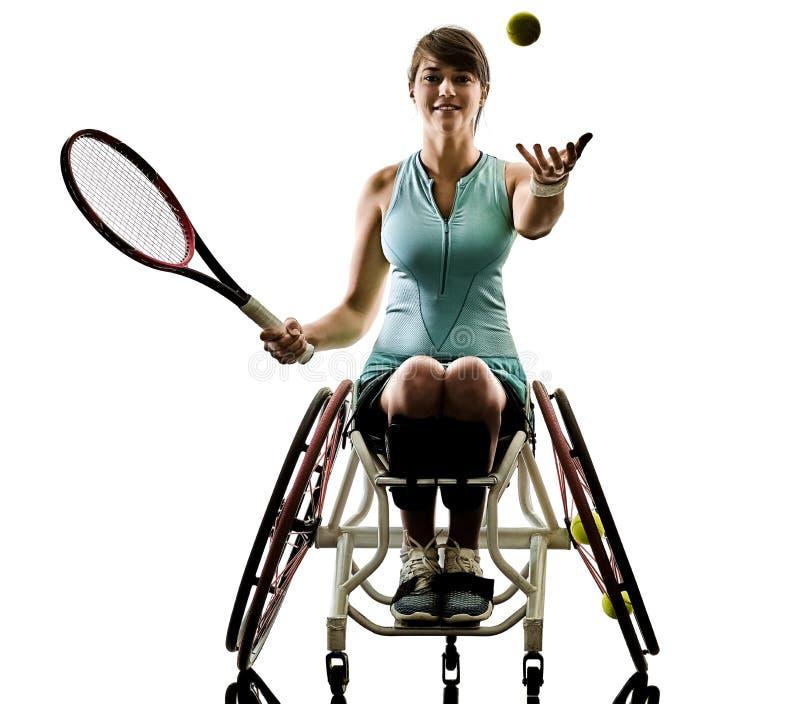 Le jeune sport handicapé de welchair de femme de joueur de tennis a isolé le SI photo stock