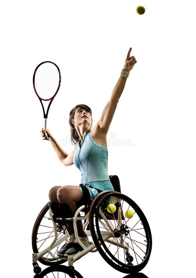 Le jeune sport handicapé de welchair de femme de joueur de tennis a isolé le SI images stock