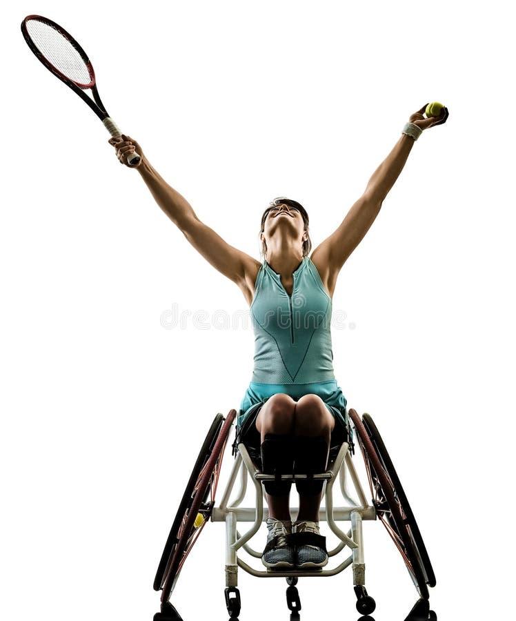 Le jeune sport handicapé de welchair de femme de joueur de tennis a isolé le SI photographie stock libre de droits