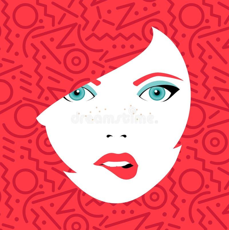 Le jeune visage sexy de femme avec la mode composent illustration libre de droits