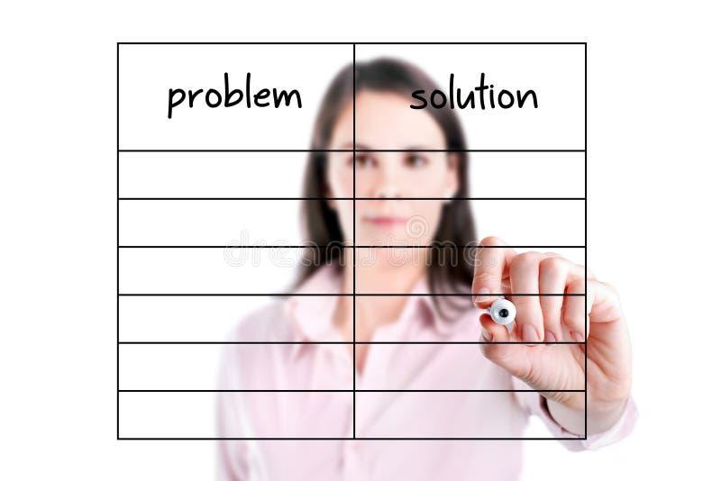 Le jeunes problème et solution d'écriture de femme d'affaires énumèrent en blanc. image stock