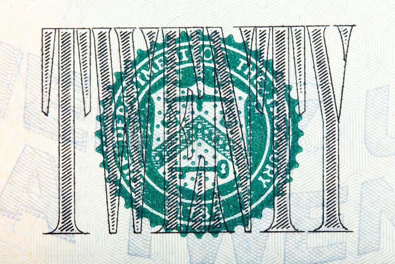 Le joint sur U S billet d'un dollar 20 sur le macro image libre de droits