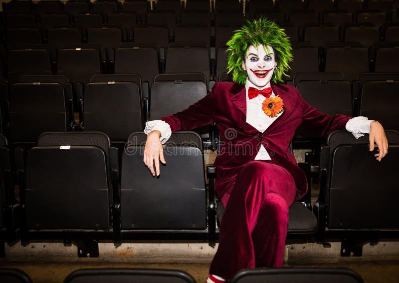Le joker de Batman à un événement comique d'escroc photo libre de droits