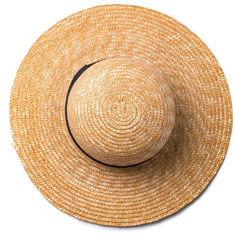 Le joli chapeau de paille avec le ruban et l'arc sur le fond blanc échouent la vue supérieure de chapeau images stock
